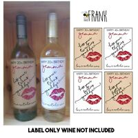 Funny Personalised WINE LABEL friend sister cousin mum aunt 20th 30th 40th 50th