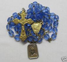 † DATED 1950 ANNO SANTO VINTAGE LOURDES GOLD WASH BLUE ROSARY & SCAPULAR MEDAL †
