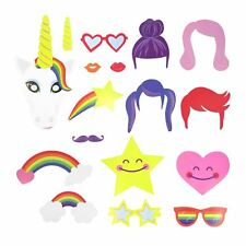Mágico arco iris Unicornio Cabina de Fotos Accesorios en palos para selfie Colorido Fiesta Juego