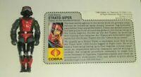 1986 GI Joe Cobra Strato Viper v1 Night Raven S3P Pilot w/ Un-Cut File Card