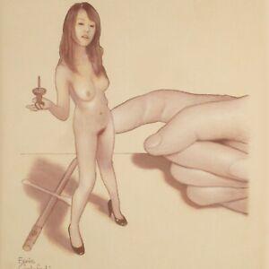 Female Nude Study #4730 Pastel Drawing Shrunken Woman