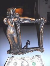 """True Antique American Art Nouveau Figural Woman Cast Picture Frame 3-1/2""""x5"""""""