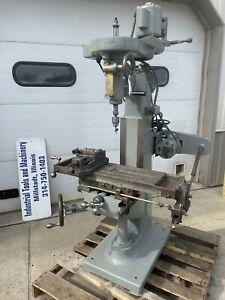 "Index 8""x23"" Knee Milling Machine 110 Volt Power Feed Mini Bridgeport USA"