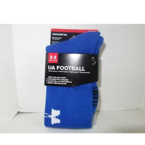 New Under Armour UA Football Socks Youth Large 1-4 Blue Performance Unisex OTC