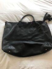 Anya Hindmarch Huxley Tote With Shagreen Tassel Black Leather Handbag Bag