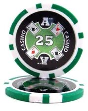 25 Green $25 Ace Casino 14g Clay Poker Chips New - Buy 2, Get 1 Free