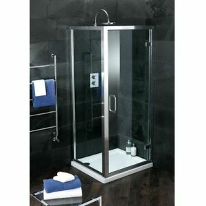 Atlas 800 Shower Hinge Door with Chrome Frame & Clear Glass | RRP: £299