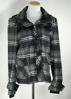 PENDLETON Women's Black Gray PLAID Wool Coat Jacket Toggle Buttons Zip Hood / L