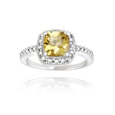 925 Silver Citrine & Diamond Accent Square Ring