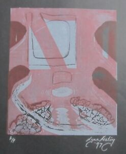 "LYNN KEATING AUSTRALIAN COLOUR INK LINOCUT ""ABSTRACT ON BLACK"" 1997 A/P"
