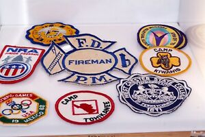 60s 70s Vtg Patches Lot Girl Scouts 1968 Olympics Mexico NRA Michigan University