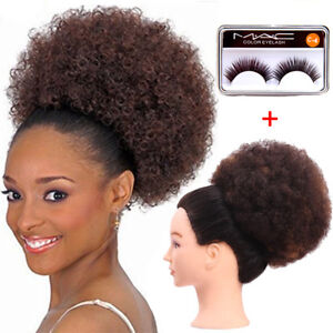 """6"""" 8"""" Afro Kinky Curly Wrap Bun Updo Drawstring Clip In Puff Ponytails Synthetic"""