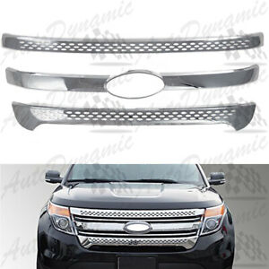 FOR 2011-2015 FORD EXPLORER 3PC CHROME TAPE OVER FRONT GRILLE OVERLAYS 12 13 14