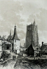 GRAND FORMAT: Vue des RUINES de l'ABBAYE du BEC (Eure NORMANDIE) - Gravure 19e