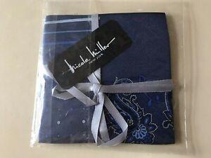Nicole Miller all Silk Men's pocket square handkerchief Blue