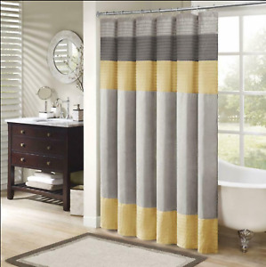 Madison Park MP70-2489 Amherst Shower Curtain Yellow/grey 72x72