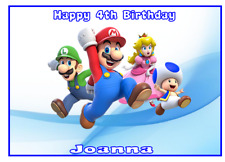 A4 Edible SUPER MARIO Personalised  Birthday Party Icing Cake Topper Deco