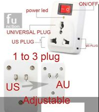 1to3 Universal UK EU AU to US/AU Plug Power AC Travel Adapter Converter on/off
