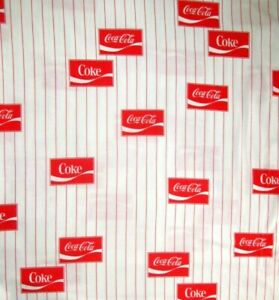 """34"""" x 52"""" Coca-Cola Patches Coke Baseball Stripes Pre-Washed on Cotton Fabric"""