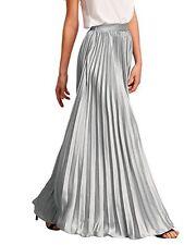 ROMWE Womens Retro Vintage Summer Chiffon Pleat Maxi Long Skirt Dress Silver M