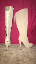 Heeled Tan/Beige Boots Size US 6