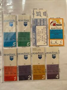 VINTAGE 1991 PENN STATE COMPLETE SIX FOOTBALL HOME & TWO AWAY GAME TICKET STUBS