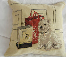 "18"" West Highland Terrier jacquard Pillow Case Car Sofa Cushion Cover Home Decor"