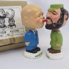 Vtg Khrushchev & Castro Kissin Kuzzins Nodders 1960s Mache Bobbleheads & Box