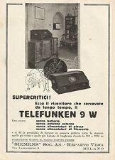 W0032 Ricevitore Telefunken 9 W - Siemens - Pubblicità 1929 - Advertising