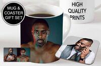 Idris Elba Awesome Ceramic Coffee MUG + Wooden Coaster Gift Set