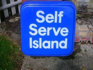 "Mobil Gas Station /""Self Service Sign/"" VINTAGE /""RARE/"" 1980/'s /""SALE/"""