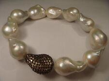 Wonderful Estate Vermeil Sterling Silver Biwa Pearl Stacking Bracelet
