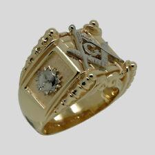 Handmade Masonic 14K Yellow and White Gold Ring Freemason Mason Size 11 UNIQABLE