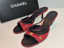 Chanel Red Kitten Heel Mules Slides Size 39 Orig. $415 With Box
