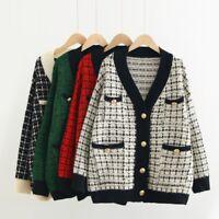 2020 Designer Inspired Tweed Cardigan Warm Sweater Thick Coat Winter Tops 4Color