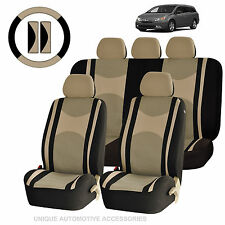 BEIGE & BK POLY MESH AIRBAG READY & SPLIT BENCH SEAT COVERS COMBO FOR VANS 1340