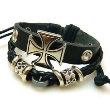 Mens black real leather goth wristband bracelet celtic cross charm