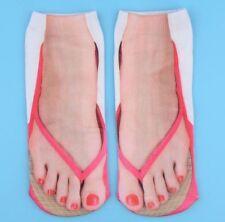 Thong socks with pink nail 3d sandal pink beach toe sock Flip flop foot novelty