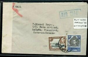 RARE JUSQU'A UGANDA KENYA TANG 1/30censored airmail 1945 airmail cover to Canada
