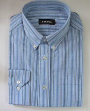 M&S talla mediana Hombre Camisa De Manga Larga 100% Algodón Con cuello