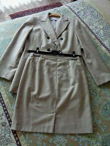 Damen Business Kostüm Gr. 40 grau meliert Rock + Blazer Reine Schurwolle SUPER