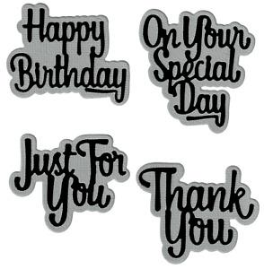 Birthday Thank You Greeting & Shadows - Metal Cutting Dies - AUSTRALIAN STOCK