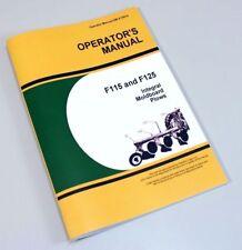 Operators Manual For John Deere F115 F125 Integral Moldboard Plow Owners Book