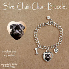 Pug Dog Black - Charm Bracelet Silver Chain & Heart