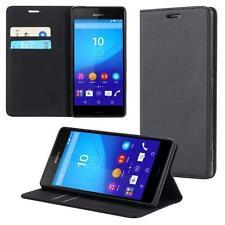 Funda-s Carcasa-s para Sony Xperia Z3 Plus Libro Wallet Case-s bolsa Cover Negro