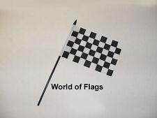 "BLACK and WHITE CHECK SMALL HAND WAVING FLAG 6"" x 4"" Checkered Motor Sport"