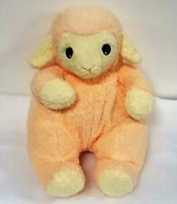Baby Rattle Peach n Yellow Roly Poly Lamb Baby Retired Ty Pluffie Plush