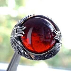 Sterling Silver Mens Ring Garnet Unique Handmade natural Gemstone Fine Jewelry