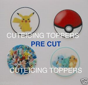 12 PRE CUT POKEMON EDIBLE RICE WAFER PAPER CARD BIRTHDAY PARTY CUPCAKE TOPPERS