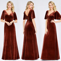 UK Ever-Pretty Velvet V-Neck Formal Long Evening Dresses Homecoming Party Gowns
